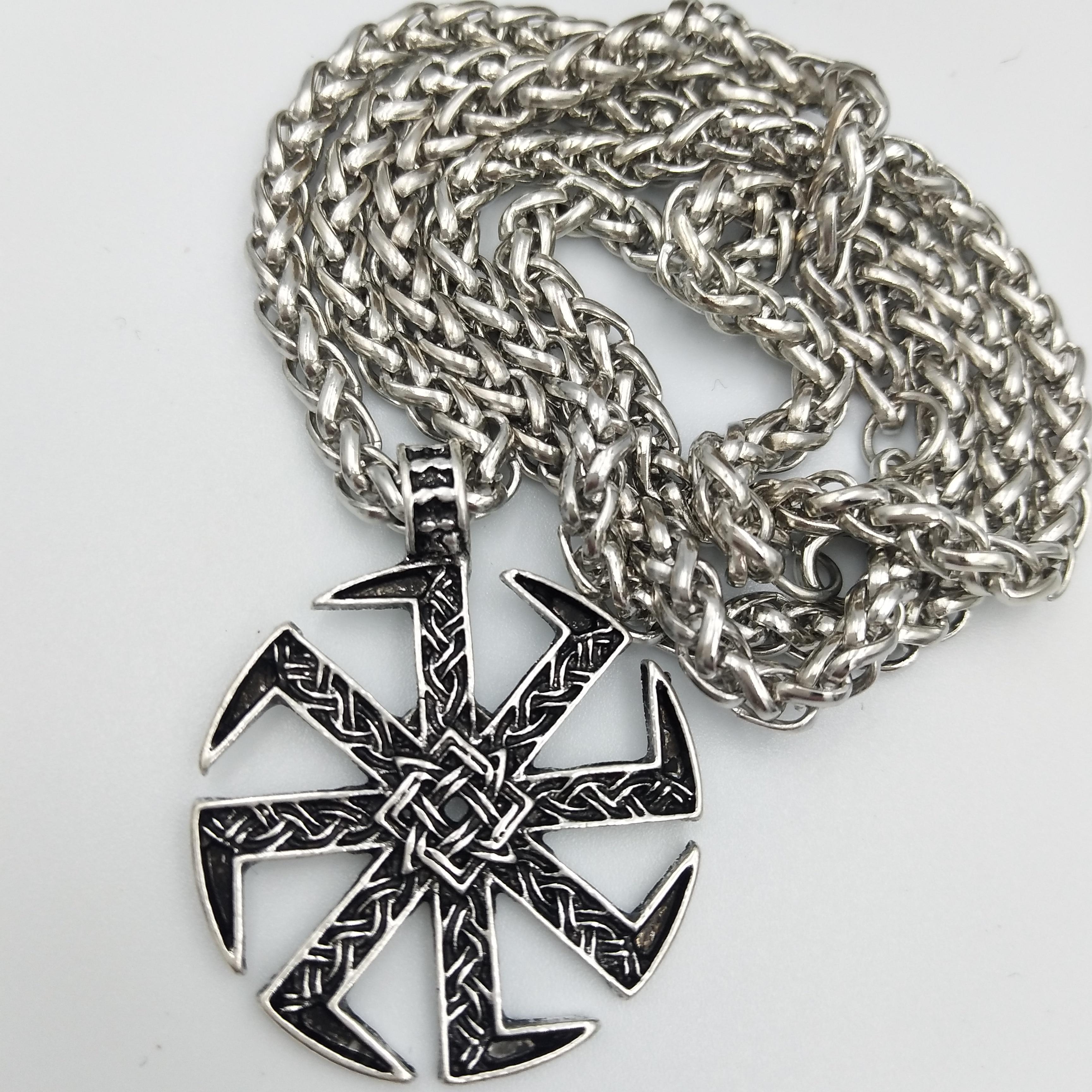 Vintage Nordic Viking Slavic Symbol Sun Wheel Kolovrat Pendant Talisman Necklace