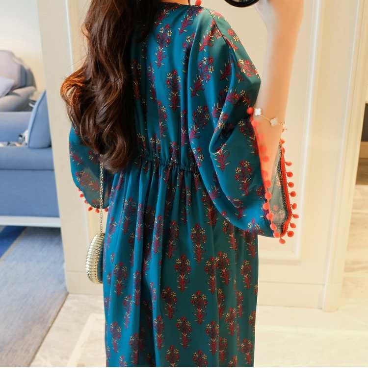 2019 модные длинные платья для беременных с принтом три четверти рукава Vestidos Одежда для беременных женщин Одежда для беременных