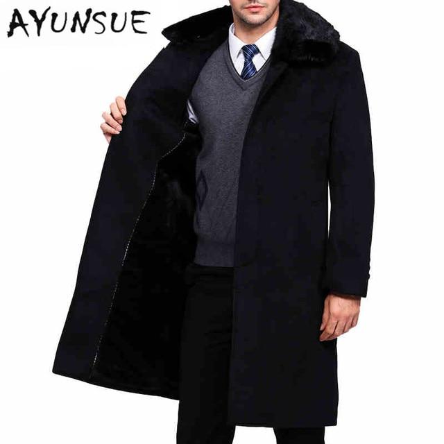 Длинный плащ пальто Для мужчин марка-Костюмы с натуральным кроличьим мехом отложным воротником Для мужчин; зимняя куртка Для Мужчин Черная куртка Для мужчин пальто WUJ1178