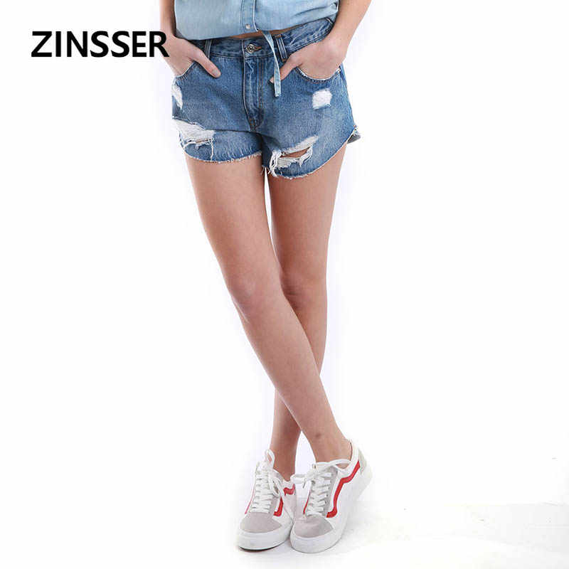 Autumn Winter Women Denim Fancy Short Loose Casual Raw Frayed Bottom Destroyed Ripped 100% Cotton Washed Blue Female Lady Short