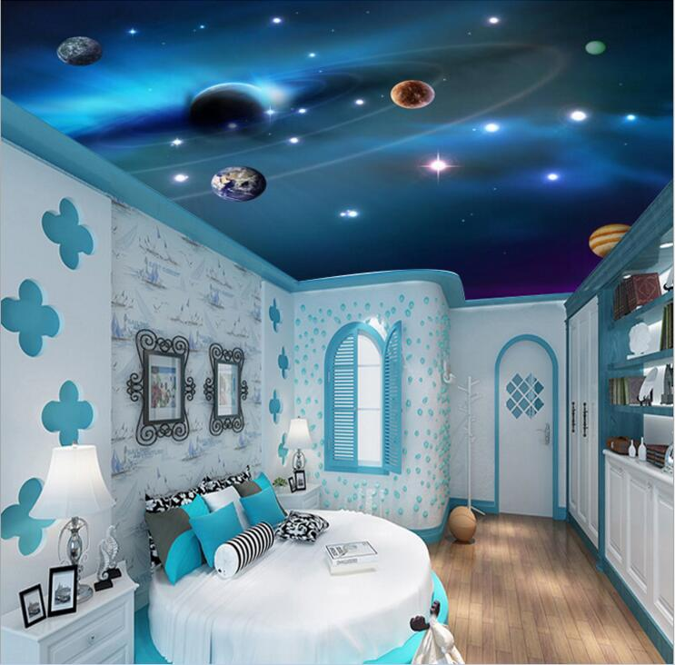3D Stereo 3d ceiling wallpapers murals Space colorful planet decoration painting 3d wall murals wallpaper for walls Home Decor custom mural 3d wallpaper cartoon planet in the solar system home decor room painting 3d wall murals wallpaper for wall 3 d