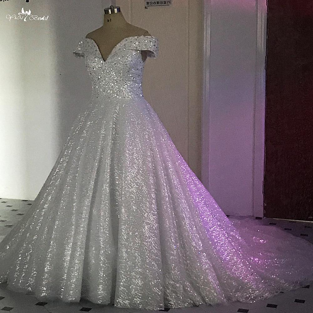 Glitter Wedding Gowns: RSW495 Luxury Dubai Princess Glitter Wedding Dresses Ball