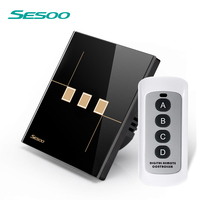 SESOO Remote Control Switches 3 Gang 1 Way Wall Touch Switch Crystal Glass Switch Panel