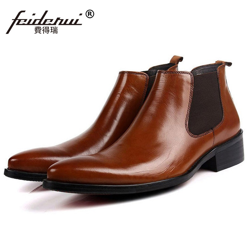 все цены на New Arrival Man Cowboy Handmade Shoes Male Italian Designer Genuine Leather Pointed Toe Luxury Men's Chelsea Ankle Boots QC35 онлайн