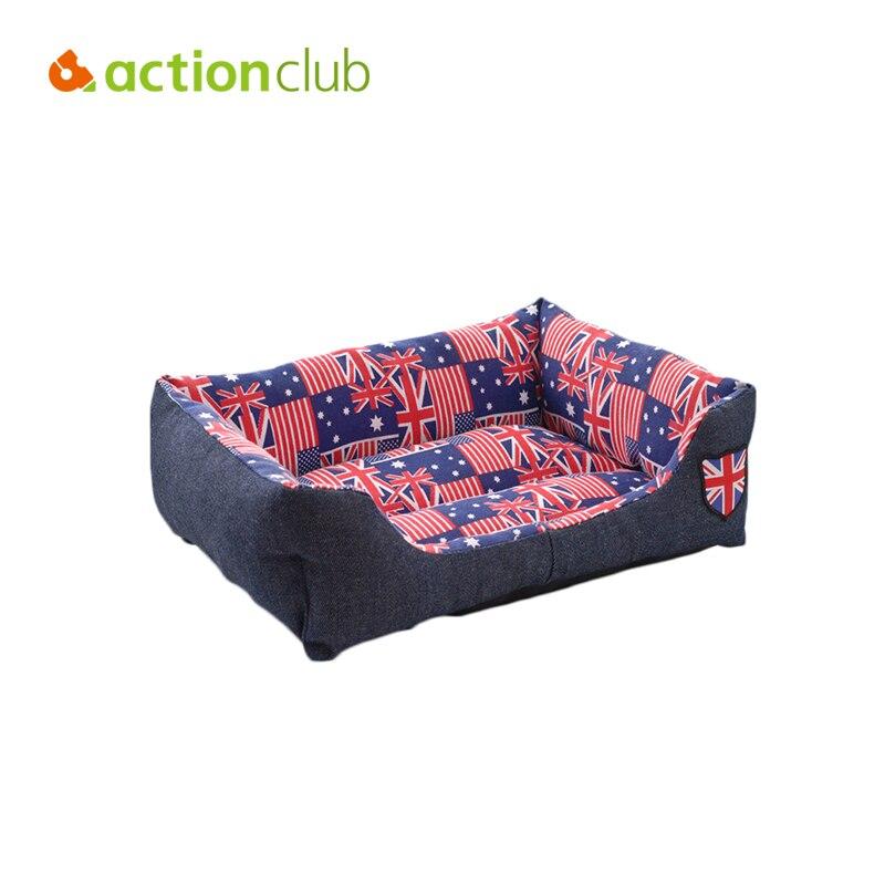 Actionclub perro mascotas camas camas patrón de la bandera de cama suave casa Cu
