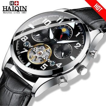HAIQIN 2019 Fashion wristwatch mens watches top brand luxury Leather mechanical watch men Military tourbillon Relogio Masculino