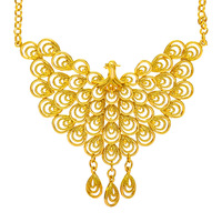 Women Engagement Wedding Jewelry Yellow Gold Filled Filigree Peacock Phoenix Pendant Necklace High Quality Bridal Gift