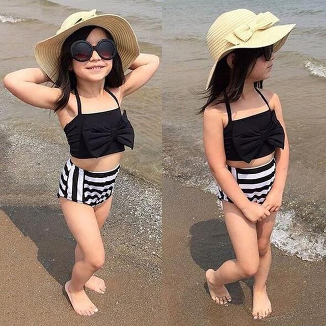 d355858043 new model cute baby girl swimwear Two piece Bow Striped 3-12Y girls swimsuit  kid/children swimming Suit