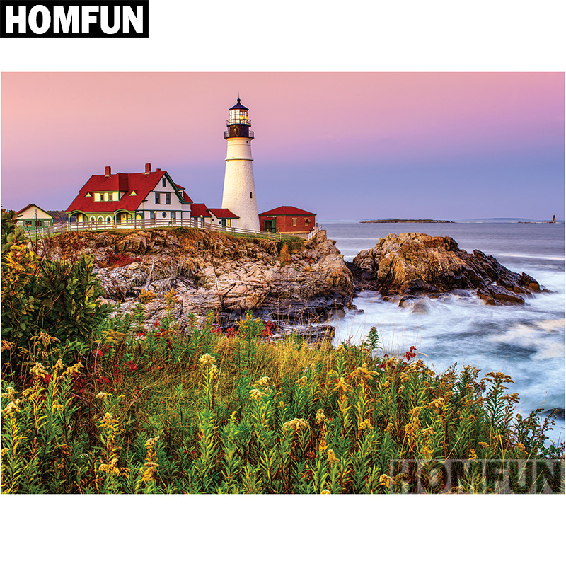 Full Square Drill 5D DIY Diamond Painting Ship sea lighthouse 3D Embroidery set