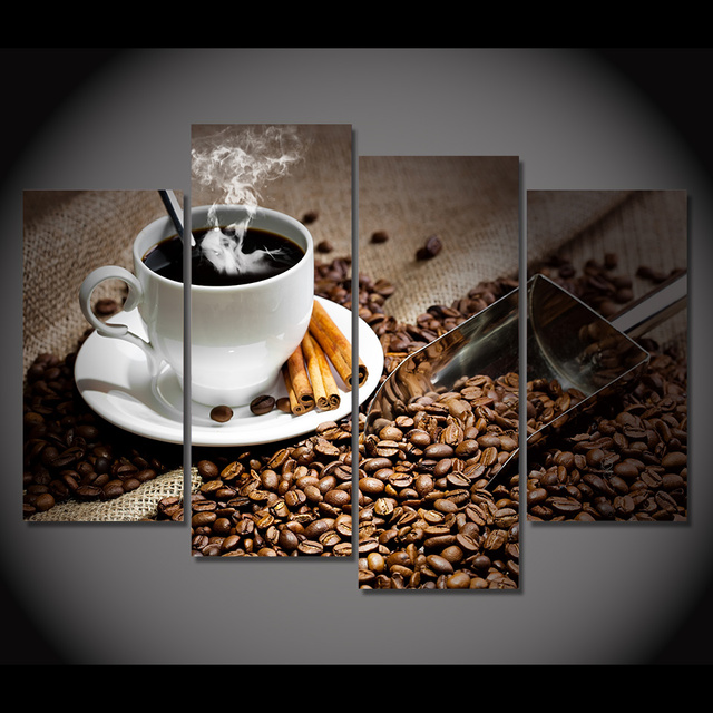 4 Pcs/Set Framed HD Printed Coffee Beans Hot Drink Picture Wall Art ...