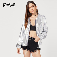 ROMWE металлик Drawstring куртка с капюшоном 2019 Клубная Серебряная куртка Прохладный для женщин демисезонный молния куртки в уличном стиле