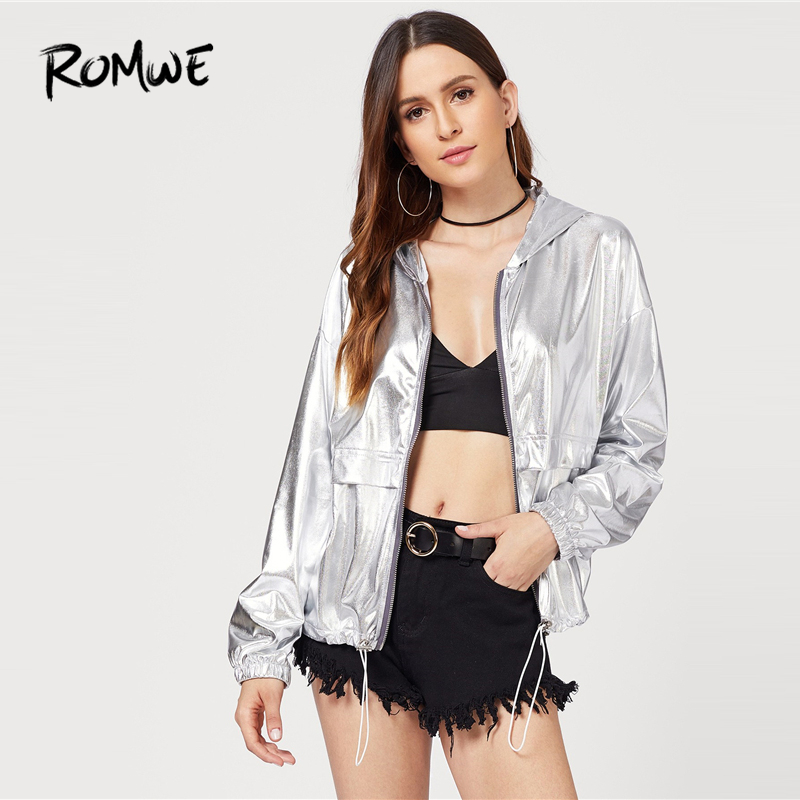 ROMWE Metallic Drawstring Hooded Jacket 2019 Clubbing Silver Jacket Cool Women Spring Autumn Zipper Streetwear Jackets