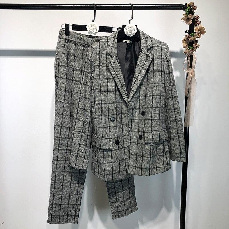 Autunno Casual Del Dimagrisce Sottile Plaid Nuovo Vestito A Temperamento Pezzi 2018 Modo Di Che Due Pantaloni dCBwTWAdqx