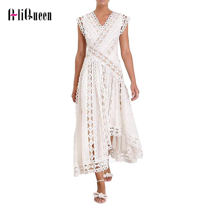 Designer de piste femmes Sexy évider dentelle robe élégante femme col en V asymétrique sans manches longues robes robe de soirée robes