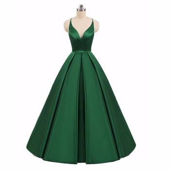 Elegant Long Evening Dresses 2019 New Formal V-neck A Line Sleeveless Floor Length Satin Sexy Party Prom Gowns Customize