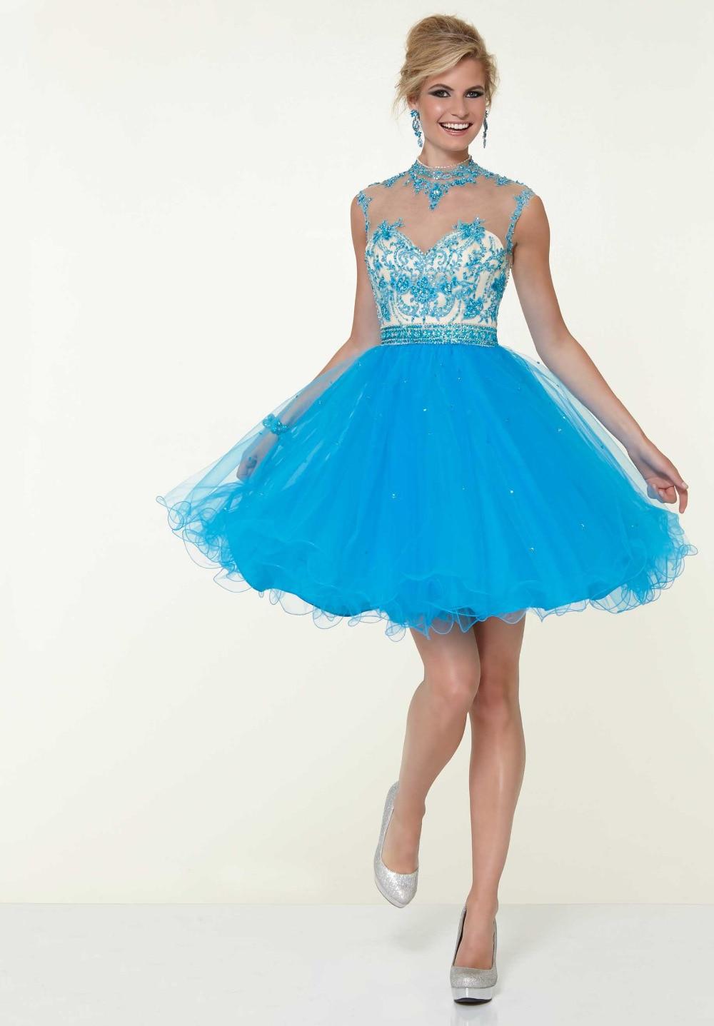 Una línea de novia barato nuevo Tulle azul / marfil corto vestidos ...