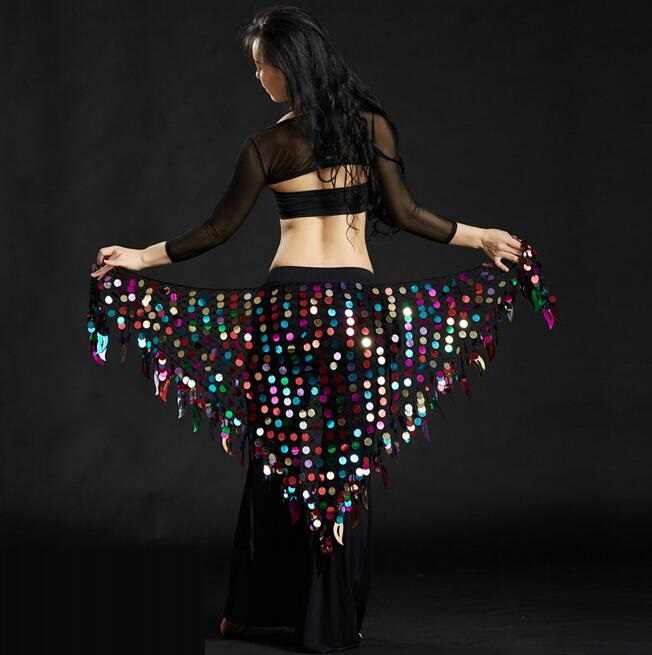 Shining Sequins Triangle Hip Scarf Belt Belly Dance Costumes Womens Dancewear