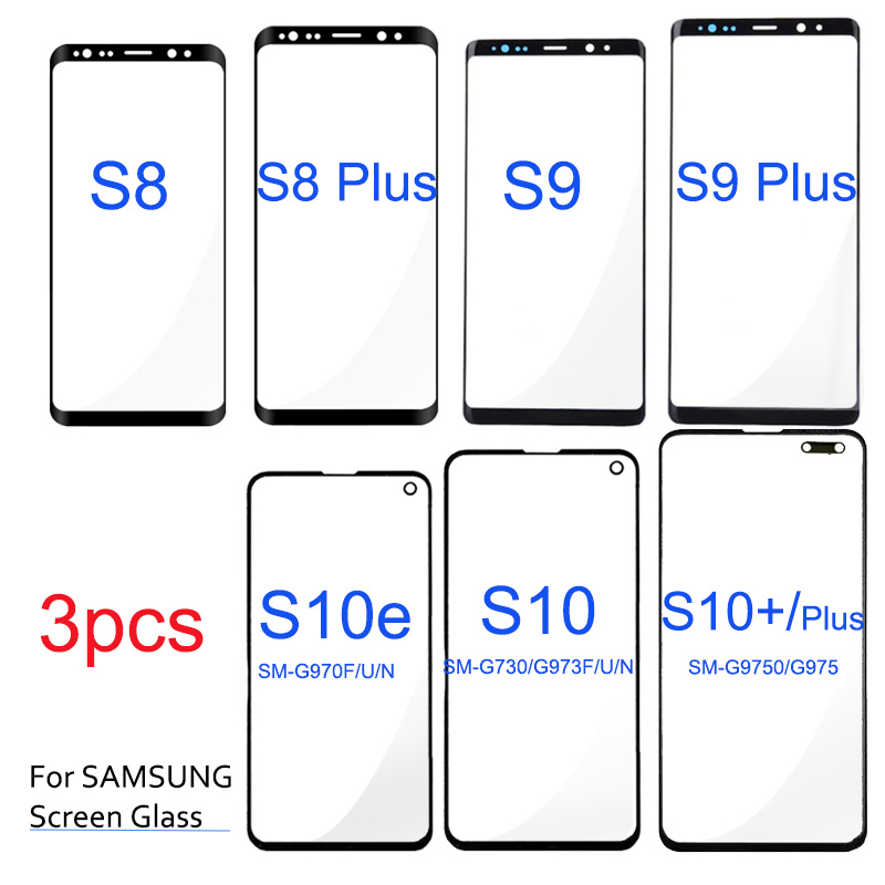3pcs Screen Outer Glass For SAMSUNG S8 S9 S10 Plus Front Lens Repairment Parts Glass S10e