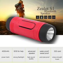 Zealot S1 Bluetooth Speaker Outdoor Bicycle Portable Subwoofer Bass Wireless Speakers Loudspeaker Support Power Bank LED light