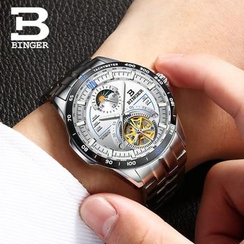 Cool Sports Designer Men Flying Wheels Tourbillon Watches Self Winding Mechanical Wrist watch Full Steel Moon Phase Watch Saphir