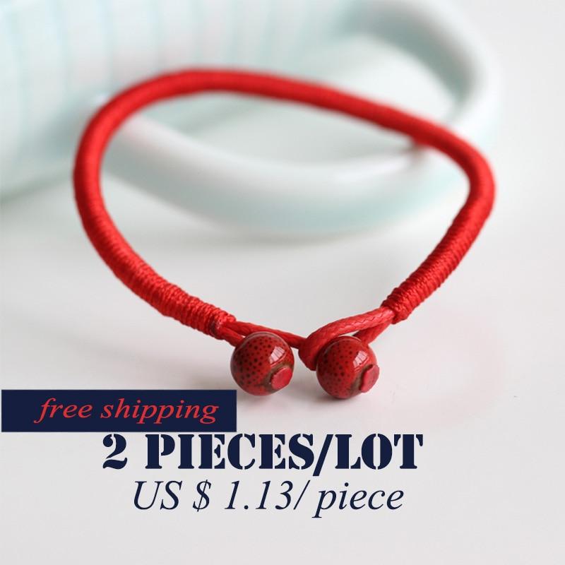 2 Teile / los Mode Roten String Armband Keramik Handgemachte - Modeschmuck - Foto 4