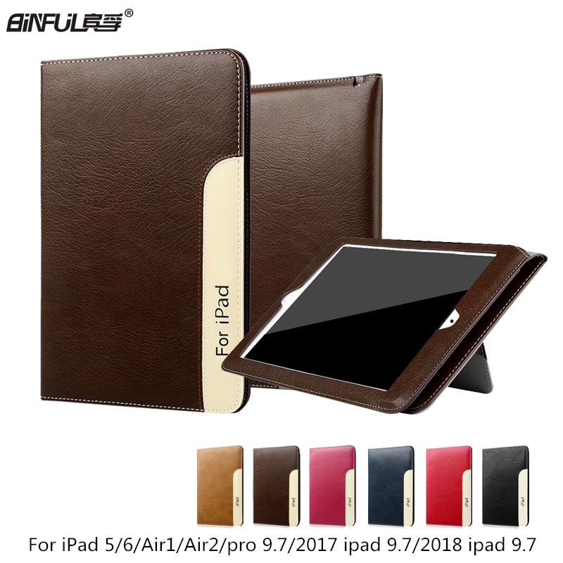 BinFul Fashion PU Leather Flip Smart Cover For Apple iPad Air 1 2 pro 9.7 Case With Hand Holder Bag For New iPad 2017 2018 A1822 case cover for