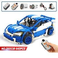 LEPIN Technic 20053B Legoing Blue Technic Hatchback Type Remote Control RC Car MOC 6604 Building Blocks 640pcs Toys For Children