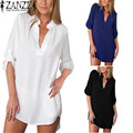 ZANZEA Vestidos 2017 Summer Women Sexy V neck Long Sleeve Party Chiffon Shirt Dress Loose Casual Beach Dresses Plus Size S-6XL