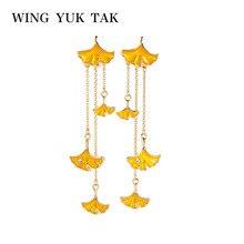 wing yuk tak Vintage Earrings Fashion Enamel Crystal Ginkgo Leaves Long Chain Tassel Drop For Women Bohemian Jewelry