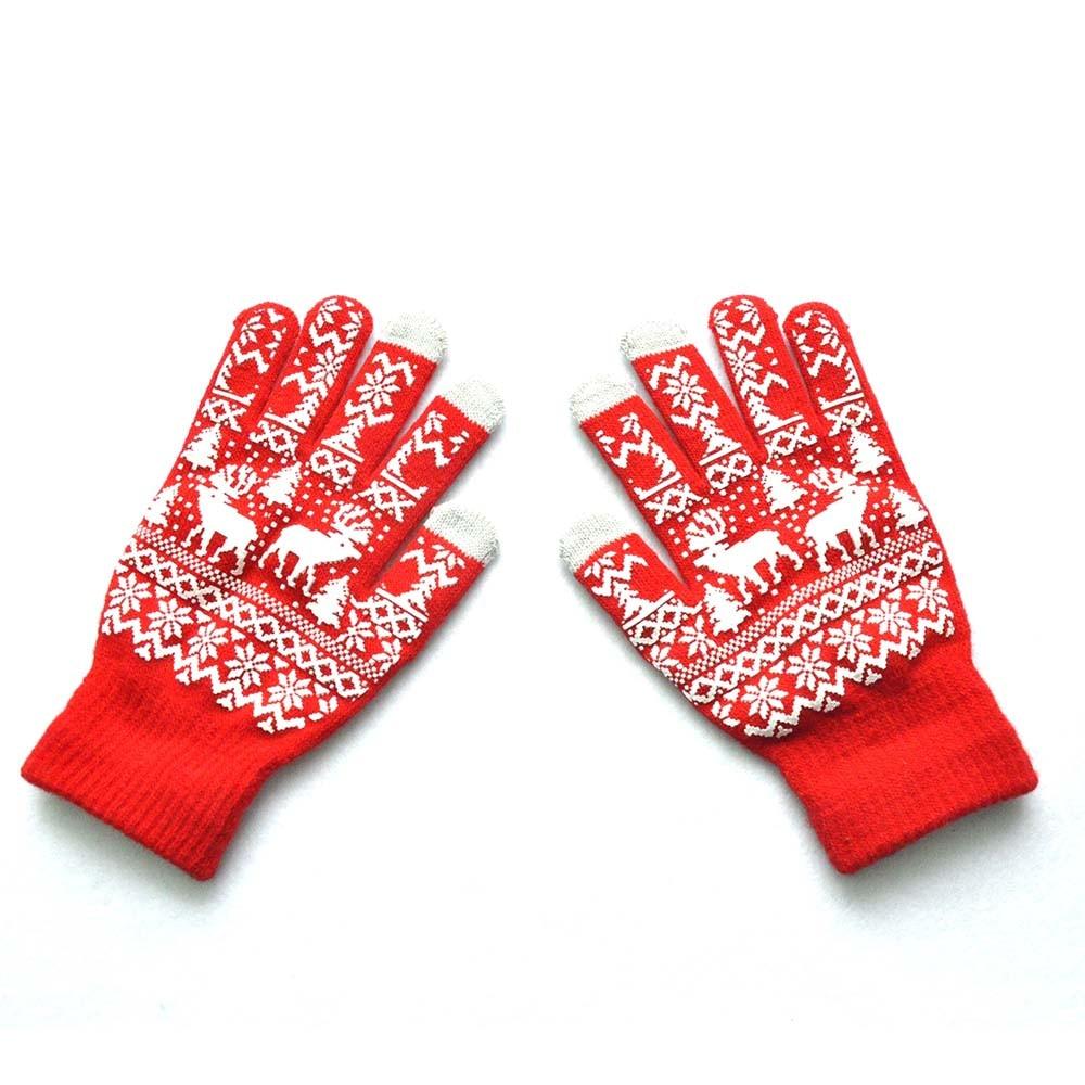 KLV Men Women Cotton Blend Christmas Winter Warm Knitted Wapiti Pint Screen Cute Gloves Fashionable Black,Red,Blue Z1017