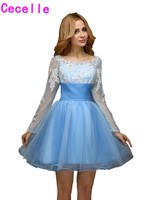 Real Short Homecoming Dresses 2017 Light Blue A Line Long Sleeves Open Back Juniors Prom Homecoming