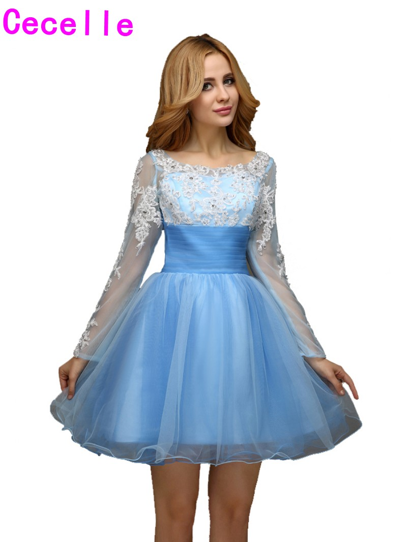 Real Short Homecoming Dresses 2017 Light Blue A line Long Sleeves ...
