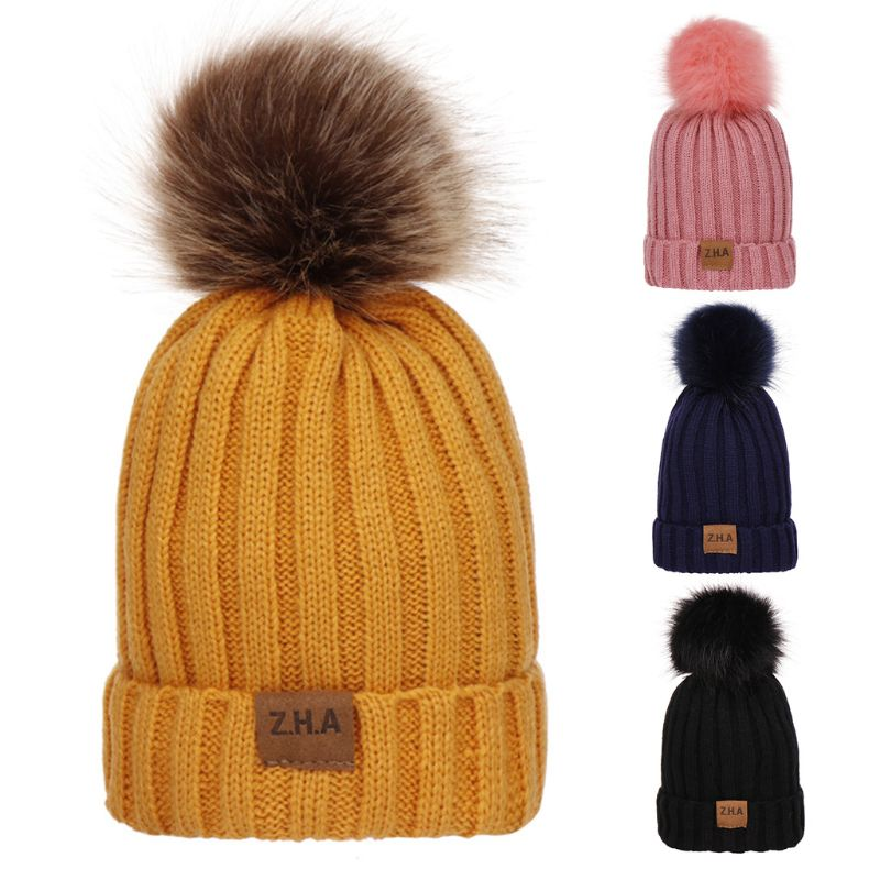 Women Men Winter Ribbed Knitted Hat Solid Color Plain Woolen Cuffed Beanie Cap Thicken With Cute Fluffy Pompom Ball Beanie with