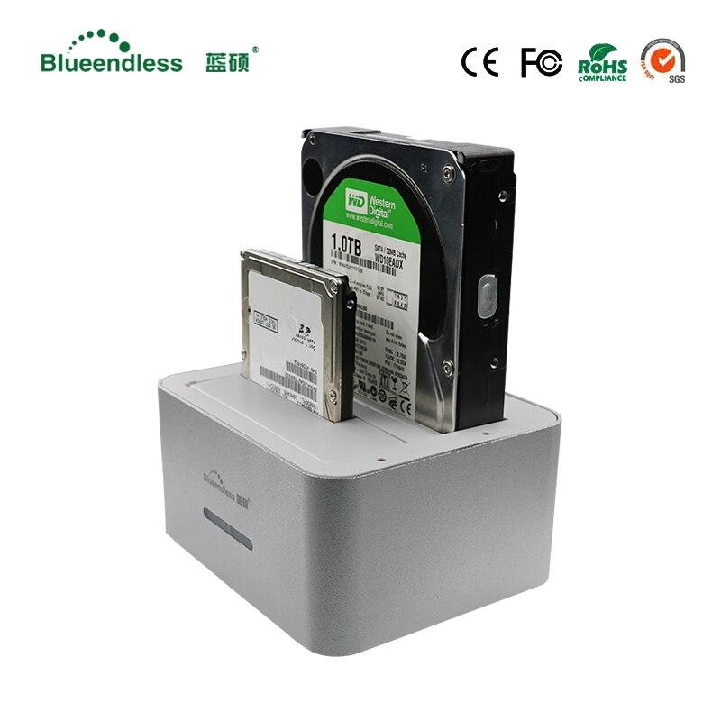 Vente chaude boîte de disque dur 3.5 lecteur 2 baies sata usb 3.0 hdd adaptateur usb pour 6 tb remplaçable à chaud 3.5/2.5 avec Clone station d'accueil pour disque dur externe