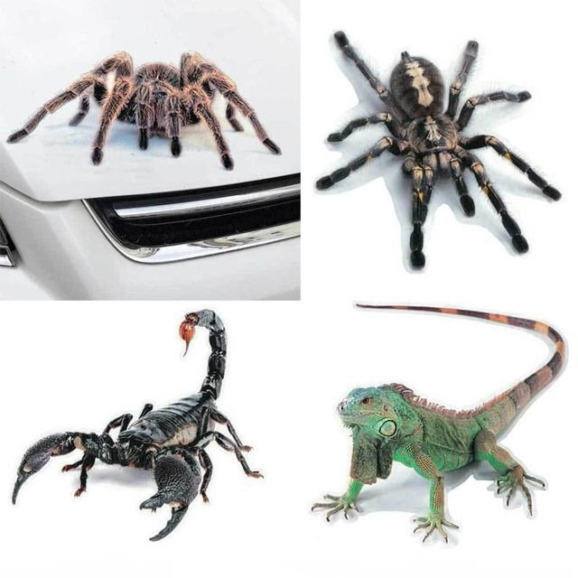 Etiqueta engomada del coche 3D animales parachoques araña Gecko Scorpions Auto-estilo Abarth vinilo pegatina coches accesorios de la motocicleta