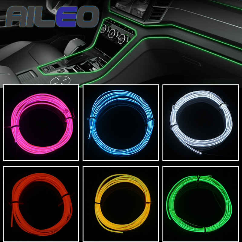 EL Wire Cable LED Glow String Light,1M Blue,Car Interior Lighting Auto LED Strip Garland,Flexible Neon Light,DC 12V for Car Party Decoration