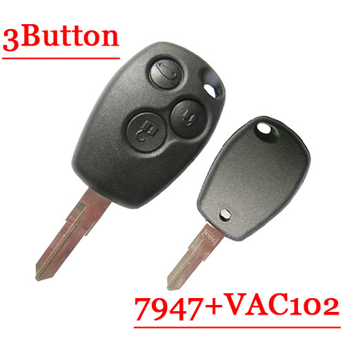 Free shipping 3 Button Remote Key With VAc102 Blade pcf7947 chip Round Button for Renault 5pcs/lot