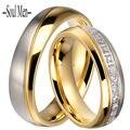 Его и Ее Titanium Сталь Обручальное кольцо Пару Колец 6 ММ для Мужчин и Женщин Набор Каналов CZ Камень Палец кольцо