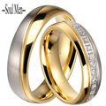His and Hers Titanium Steel Wedding Band Couple Rings 6MM for Men & Women Channel Set CZ Stone Finger Ring