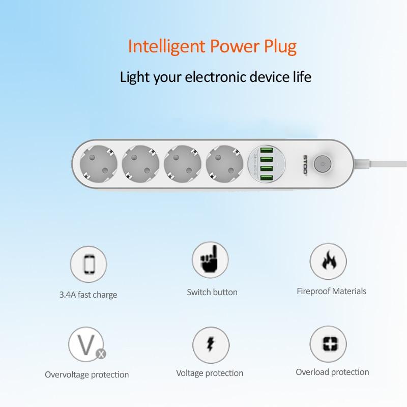 STOD 4-port USB-laddare 2500W Power Strip EU-plugguttag 6,6 ft - Reservdelar och tillbehör för mobiltelefoner - Foto 6