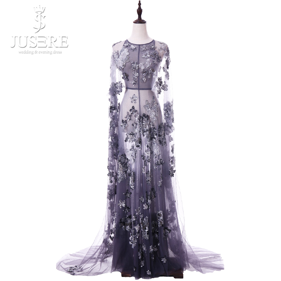 Long Sleeves Scoop Neckline Zipper up Back Transparent Tulle Sequin Beading Illusion Purple Luxury Glitter Evening Dress 2018
