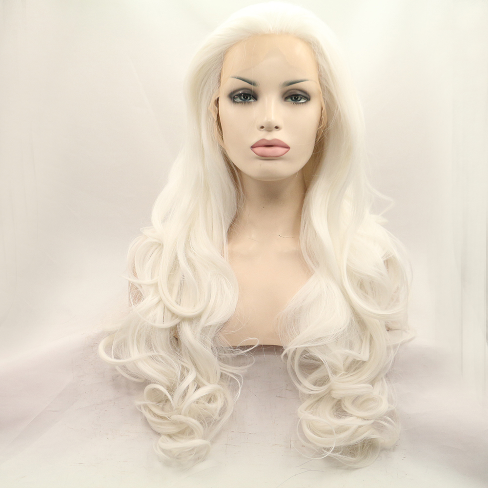Fantasy Beauty Platinum Blonde Lace Front Wig Natural Long Wavy Glueless Synthetic Fiber Hair Replacement Wigs