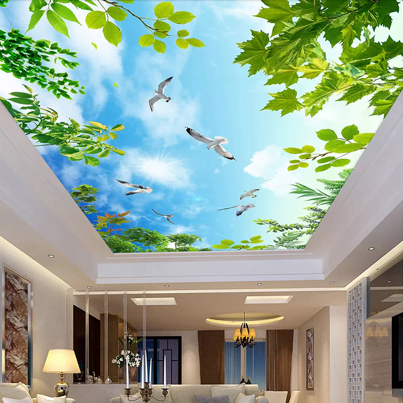 Blue Sky White Clouds Green Leaves Ceiling Murals
