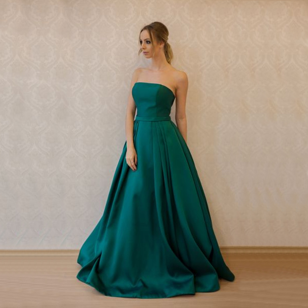 Elegant Green Long Formal   Dress   2019 Strapless Floor Length High Quality Satin   Bridesmaid     Dresses   Custom Made Wedding Party Gown