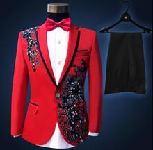 Sequins formal dress latest coat pant designs suit men red embroidered trouser marriage wedding suits for men's singer dance