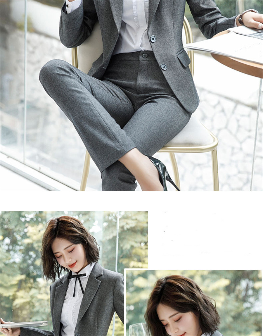 Work Fashion Pant Suits 2 Piece Set for Women singel Breasted solid color Blazer Jacket&Trouser Office Lady Suit Feminino 20