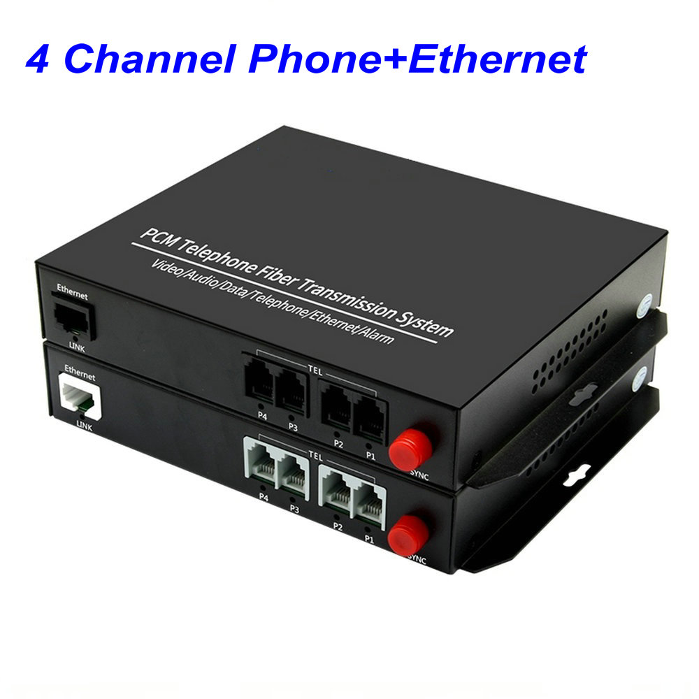 1 Pair 4 Channel -PCM Voice Tel Over Fiber Optic Multiplexer Extender With 100M Ethernet,Support Caller ID And Fax Function