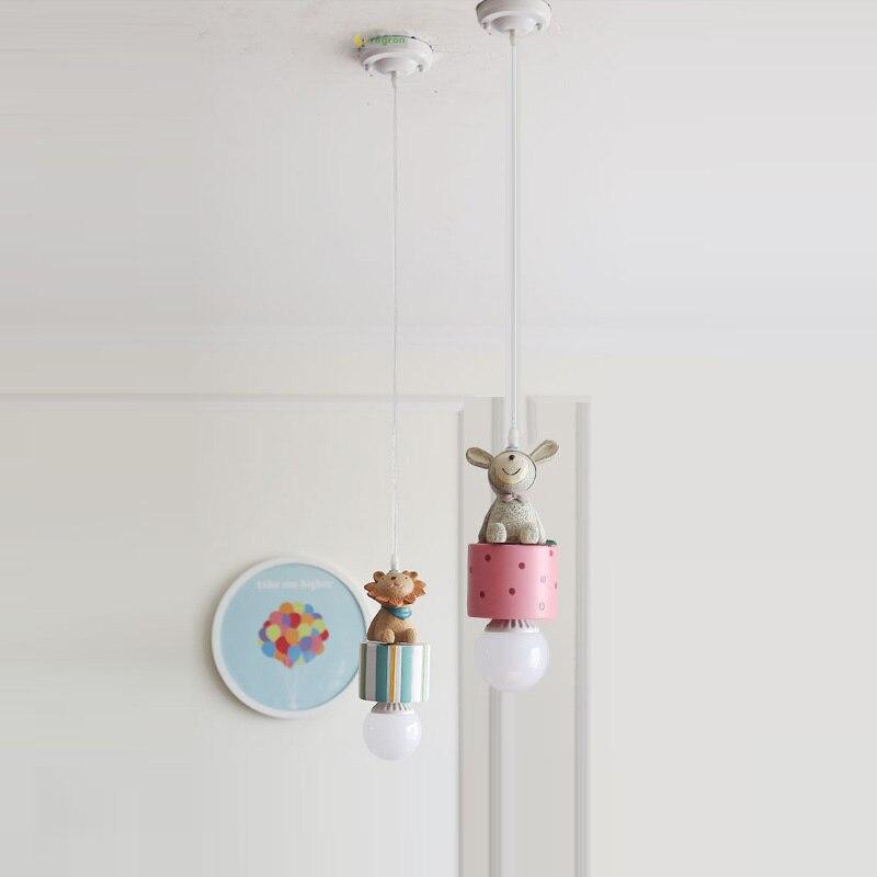 Chambre d'enfants moderne Led lampes pour enfants américains garçon fille dessin animé chambre lampe E27 pendentif lumière éclairage décoration de noël