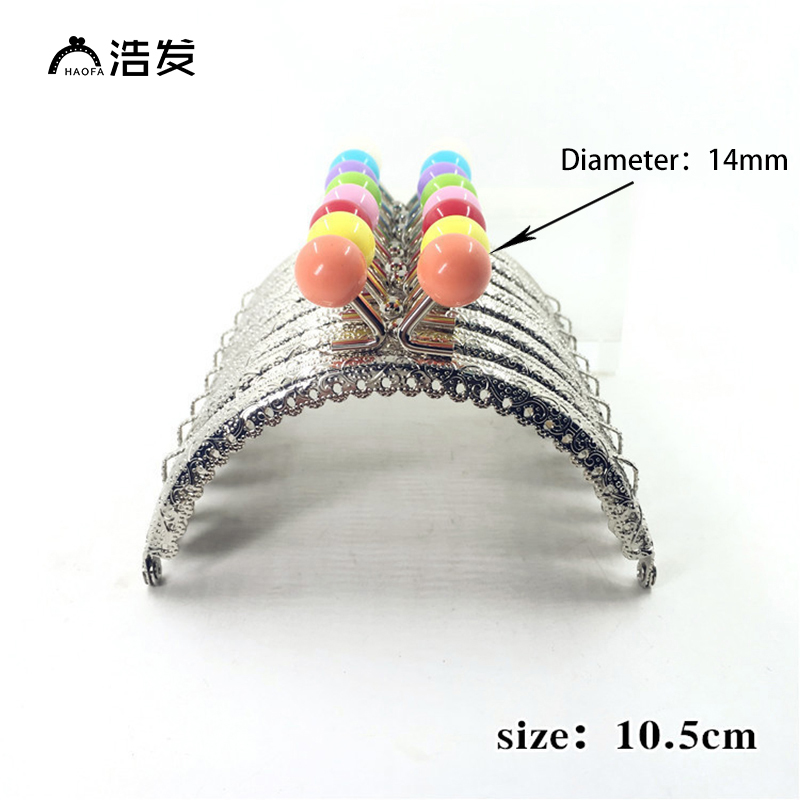 Haofa 10pcs 10.5cm Candy Head 14MM Diameters Coin Purse Frames Metal Kiss Clasp Clutch Bags Frame Handbag Clasps Purse Handles