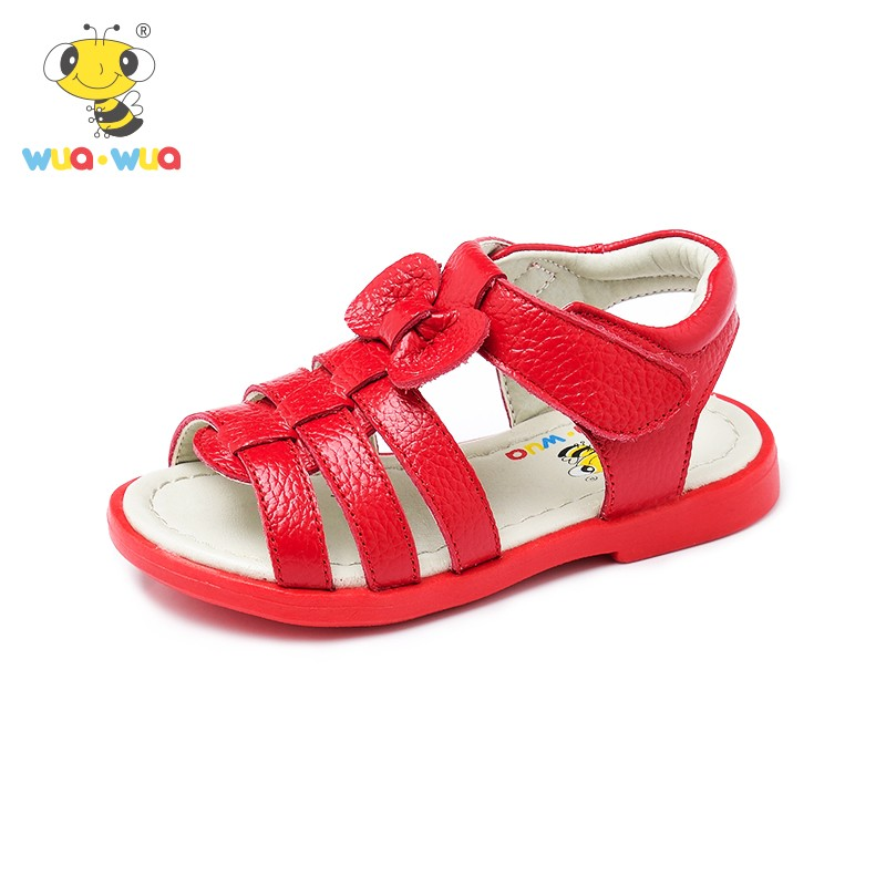 Wua Wua Summer Girls Sandals Genuine Leather Princess Shoes Baby Kids Anti-slip Shoes Toddler Breathable Baby Girl Sandal Clogs 2016 rome girls summer sandals leather shoes slip korean princess shoes 1 3 year old female baby toe sandals